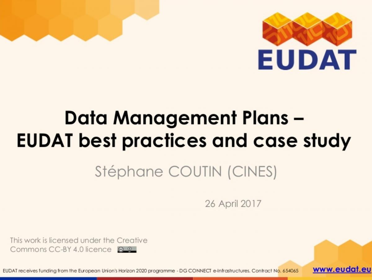Data Management Plans EUDAT best practices and case study